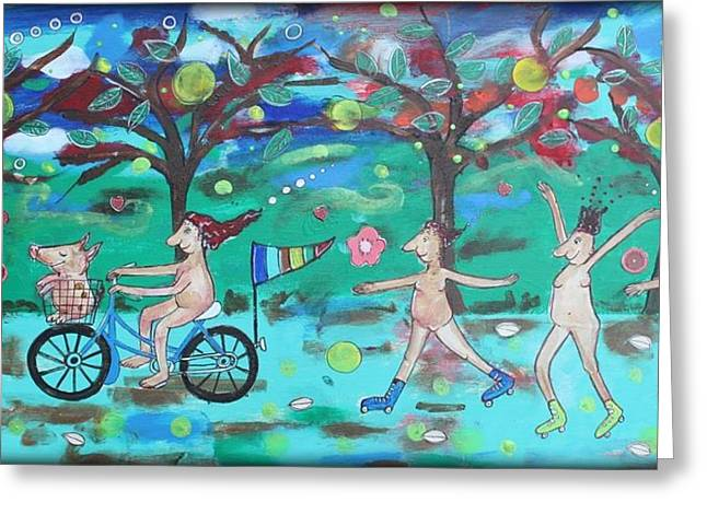 Roller Skates Paintings Greeting Cards - Rebel In You Greeting Card by Sarah Parsons