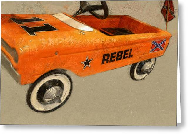 Confederate Flag Greeting Cards - Rebel Pedal Car Greeting Card by Michelle Calkins
