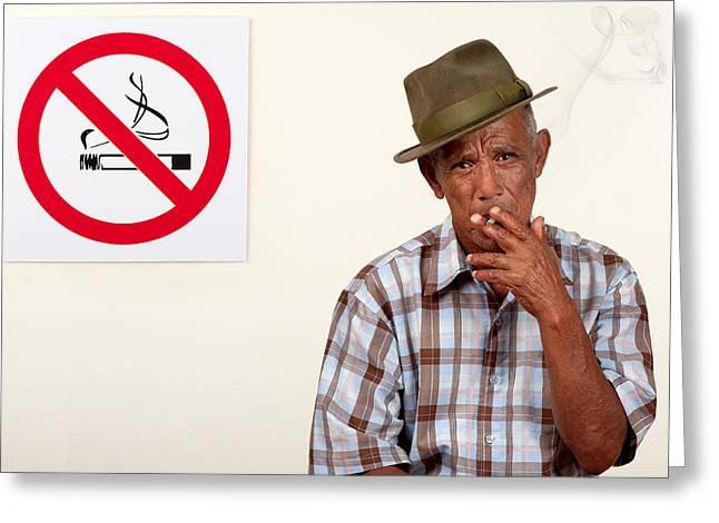 Disobeying Greeting Cards - Rebel smoker Greeting Card by Howard Klaaste