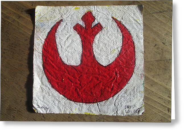 Star Alliance Photographs Greeting Cards - Rebel Symbol - napkin art Greeting Card by David Lovins
