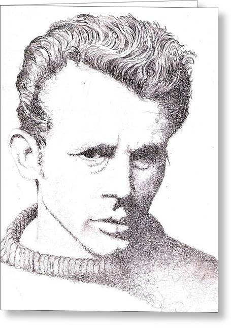 James Dean Prints Drawings Greeting Cards - Rebel Without Greeting Card by Paul Smutylo