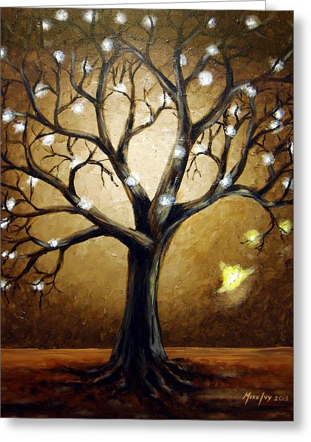 Tree Roots Paintings Greeting Cards - Rebirth				 Greeting Card by Michael Ivy