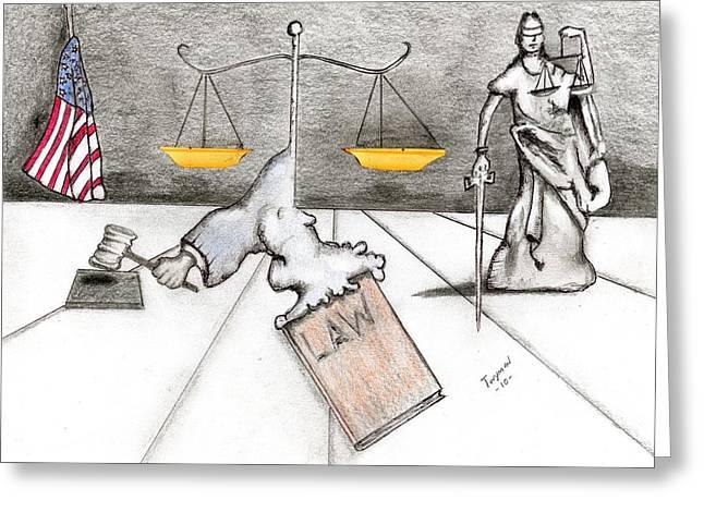 Attorney Drawings Greeting Cards - Rebirth of Law Greeting Card by Dan Twyman