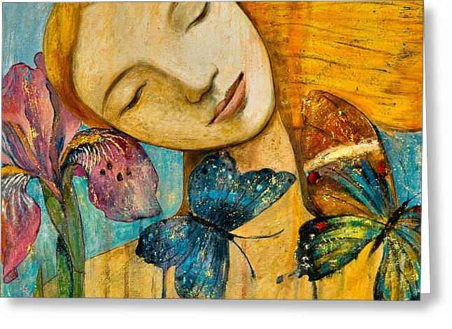 Blonde Girl Paintings Greeting Cards - Rebirth Greeting Card by Shijun Munns