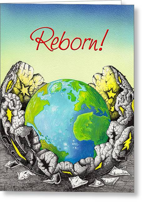 Born Again Drawings Greeting Cards - Reborn Greeting Card by Anthony Mwangi