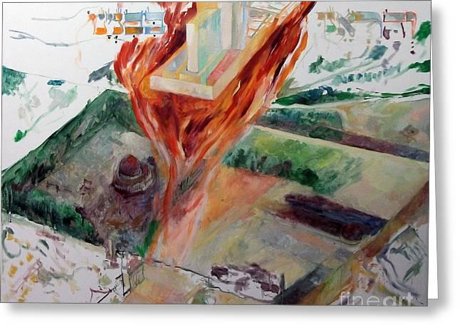 Inner Self Paintings Greeting Cards - Rebuilding 3 Greeting Card by David Baruch Wolk