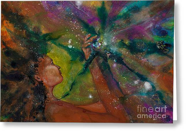Empowerment Paintings Greeting Cards - Recapturing Her Soul Greeting Card by Ilisa  Millermoon