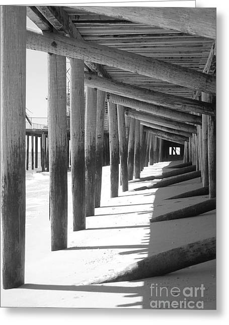 Seaside Heights Nj New Jersey Shore Hurricane Sandy Aftermath Beach Photo Photos Fireman Firefighter Firemen Dalmatian Dog Pet Fire Department Toms River Jetstar Roller Coaster Boardwalk Ocean Superstorm Greeting Cards - Receding Greeting Card by Chanel Fernandez