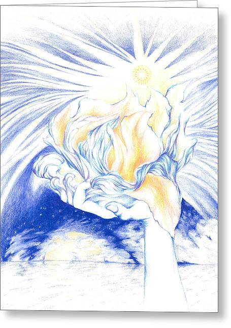 Holding Flower Drawings Greeting Cards - Receiving Grace from the Divine    oneness art Greeting Card by Lydia Erickson