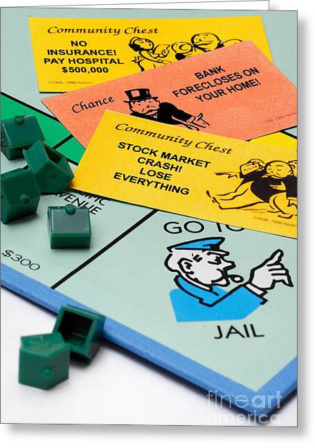 Bankruptcy Greeting Cards - Recession Hits Monopoly Greeting Card by Amy Cicconi