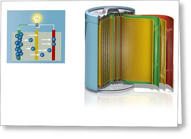 Recharge Greeting Cards - Rechargeable battery, artwork Greeting Card by Science Photo Library