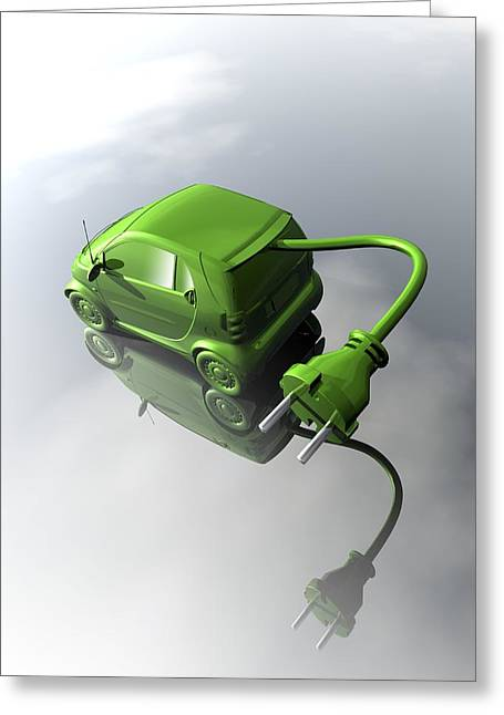 Electric Vehicle Greeting Cards - Rechargeable electric car, artwork Greeting Card by Science Photo Library