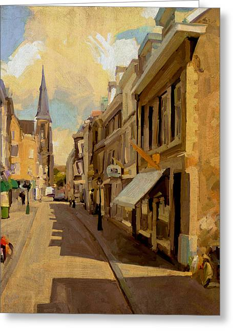 Limburg Greeting Cards - Rechtstraat in Maastricht Greeting Card by Nop Briex