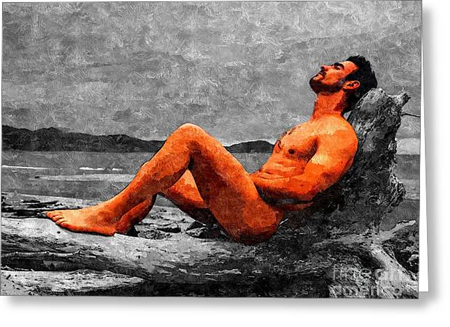 Homoerotic Photographs Greeting Cards - Reclined Nude Drifter Greeting Card by Brian Joseph