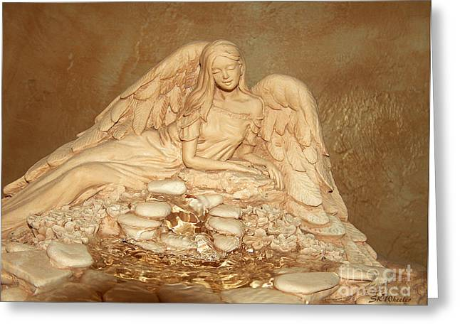 Gold Sculptures Greeting Cards - Reclining Angel by the Spring Greeting Card by Sabrina Wheeler