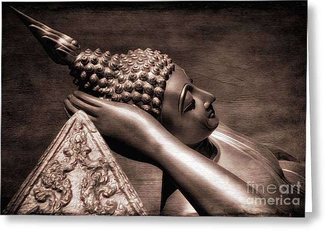 Buddhism Digital Art Greeting Cards - Reclining Buddha Greeting Card by Adrian Evans