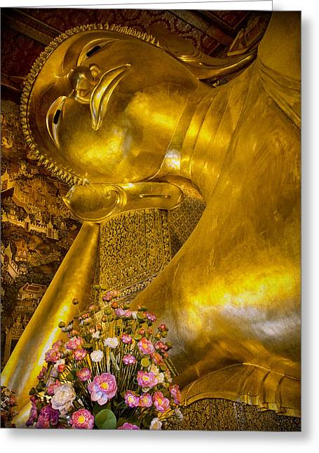 18th Century Greeting Cards - Reclining Buddha Greeting Card by Kim Andelkovic