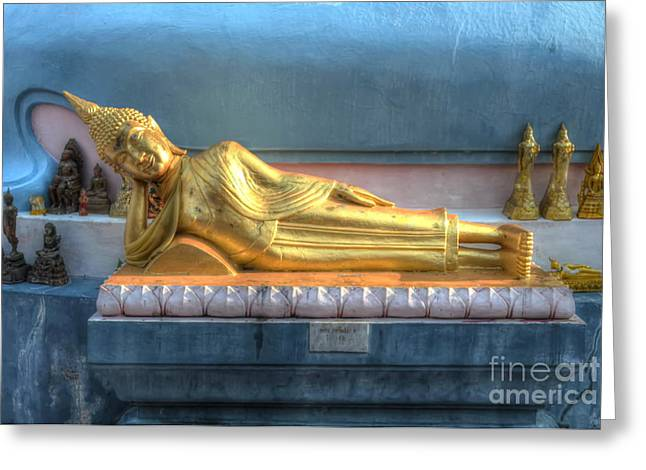 Michelle Greeting Cards - reclining Buddha Greeting Card by Michelle Meenawong
