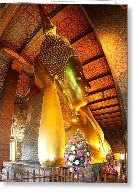 Reclining Greeting Cards - Reclining Buddha - Wat Pho - Bangkok Thailand - 01131 Greeting Card by DC Photographer