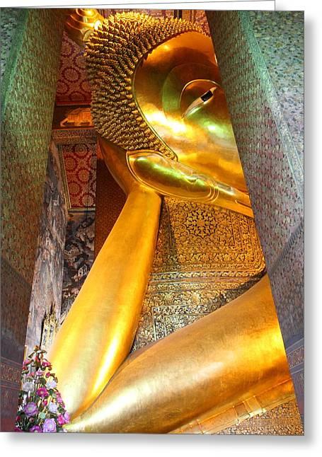 Buddha Photographs Greeting Cards - Reclining Buddha - Wat Pho - Bangkok Thailand - 01132 Greeting Card by DC Photographer