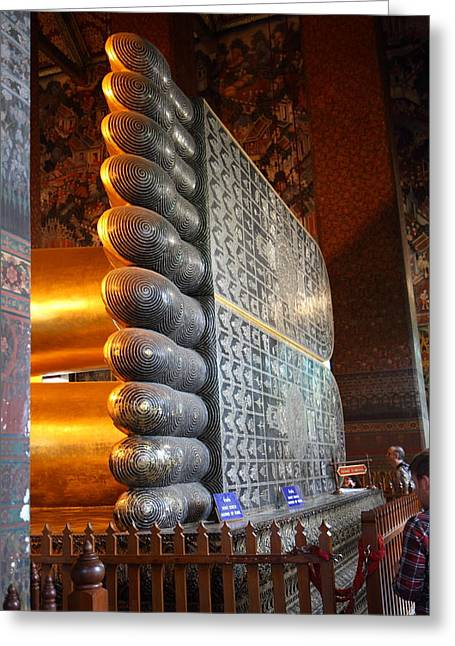 Reclining Greeting Cards - Reclining Buddha - Wat Pho - Bangkok Thailand - 01137 Greeting Card by DC Photographer