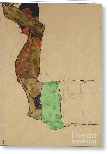 Reclining Male Nude With Green Cloth Greeting Card by Egon Schiele