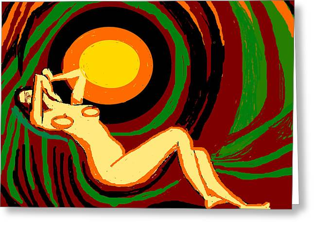 Reclining Nude Greeting Card by Anand Swaroop Manchiraju