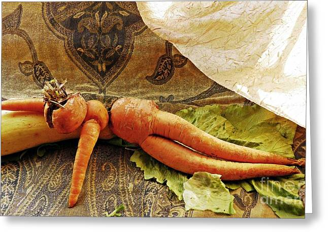 Reclining Nude Carrot Greeting Card by Sarah Loft