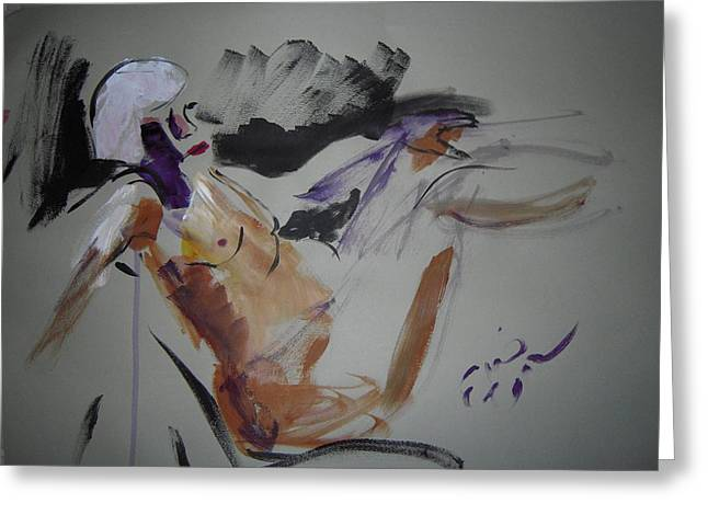 Expressiveness Greeting Cards - Reclining Nude Greeting Card by Elaine Schloss
