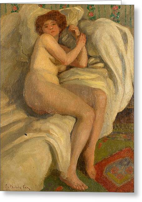 Emanuel Greeting Cards - Reclining Nude Greeting Card by Emanuel Phillips Fox