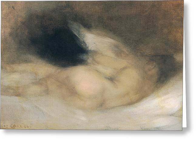 Blur Paintings Greeting Cards - Reclining Nude Greeting Card by Eugene Carriere