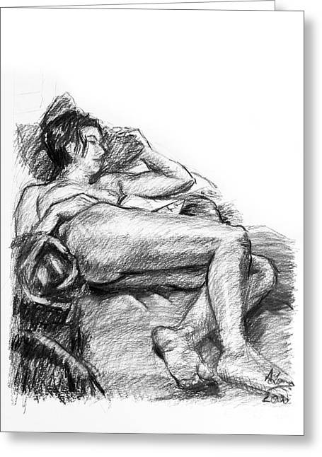 Nice Drawings Greeting Cards - Reclining nude female charcoal drawing Greeting Card by Adam Long