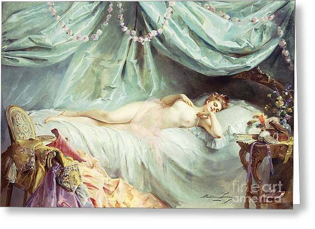 Reclining Nude in an Elegant Interior Greeting Card by Madeleine Lemaire