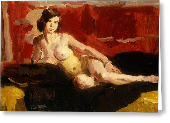 Lounge Paintings Greeting Cards - Reclining Nude Greeting Card by Isaac Israels