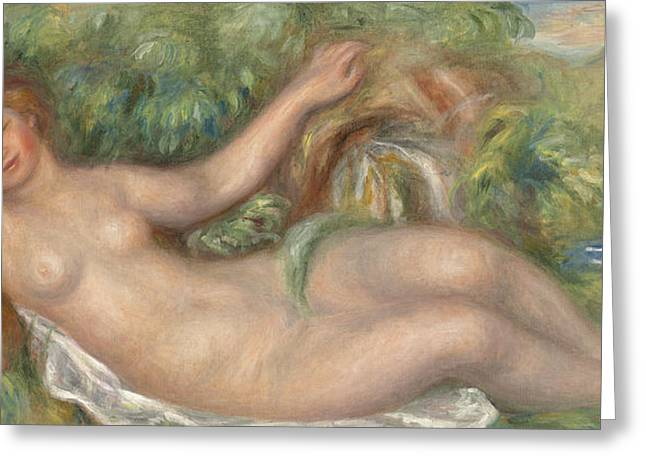 Source Greeting Cards - Reclining Nude La source Greeting Card by Pierre Auguste Renoir