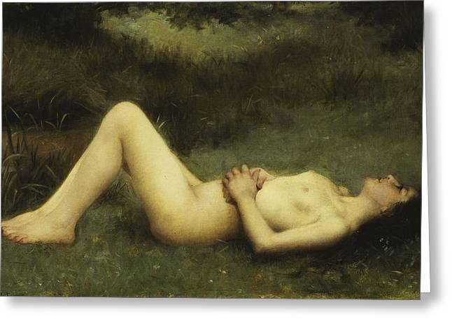 Origin Greeting Cards - Reclining Nude Greeting Card by Louis Courtat