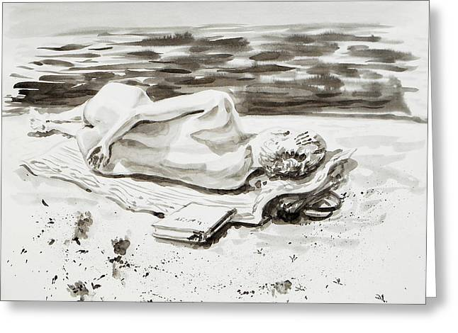 Sand Drawings Greeting Cards - Reclining Nude Study Resting At The Beach Greeting Card by Irina Sztukowski