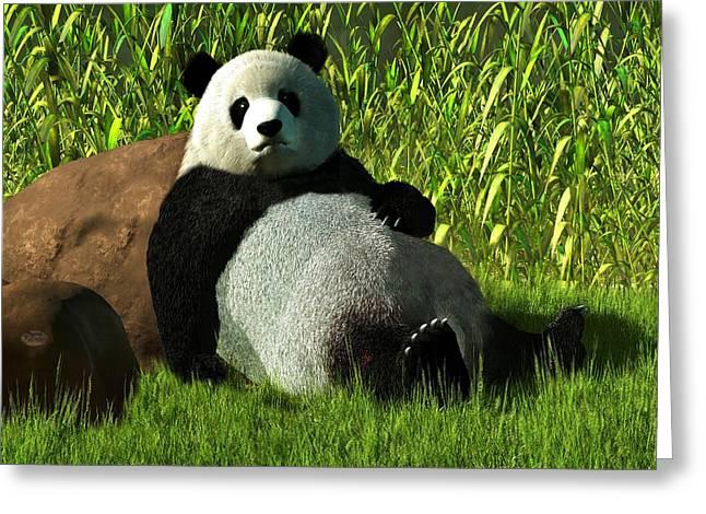 Tuan Greeting Cards - Reclining Panda Greeting Card by Daniel Eskridge