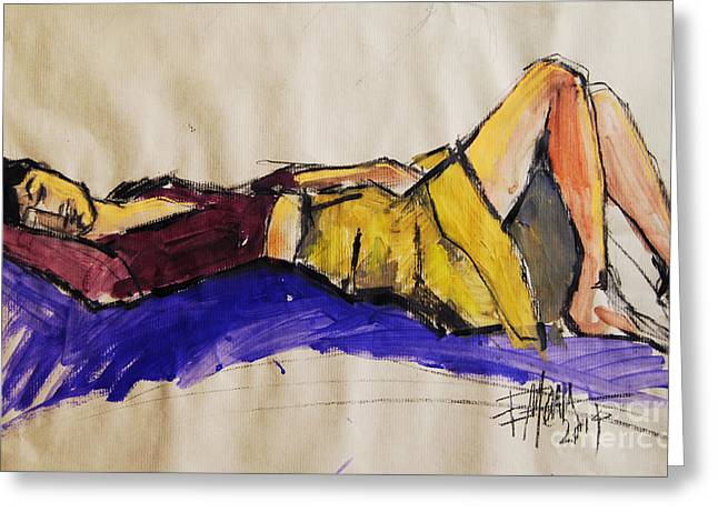 Reclining Woman - Pia #5 - Figure Series Greeting Card by Mona Edulesco