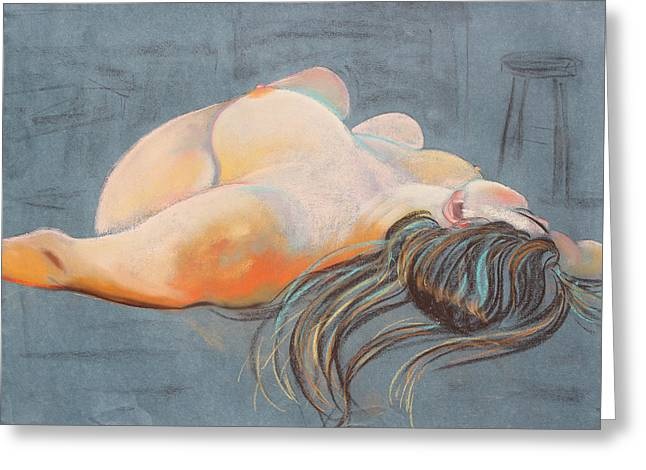 Print On Acrylic Pastels Greeting Cards - Reclining Woman with Stuido Stool Greeting Card by Asha Carolyn Young