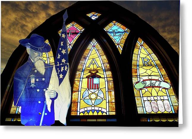 Colorful Photos Glass Art Greeting Cards - Recollection Union Soldier Stained Glass Window Digital Art Greeting Card by Thomas Woolworth