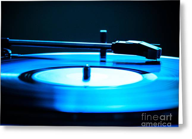 Sonja Quintero Greeting Cards - Record Blues Greeting Card by Sonja Quintero
