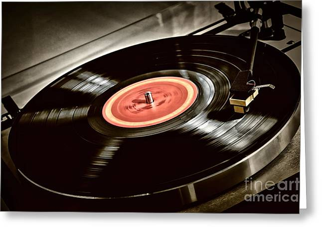 Label Greeting Cards - Record on turntable Greeting Card by Elena Elisseeva