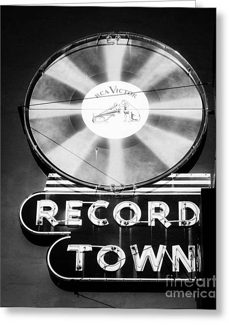 Sonja Quintero Greeting Cards - Record Town Vintage Sign Greeting Card by Sonja Quintero