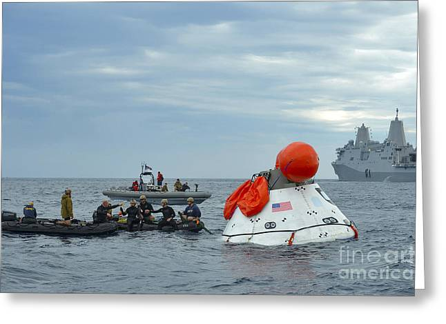 Boats On Water Greeting Cards - Recovery Of The Orion Crew Module Greeting Card by Stocktrek Images