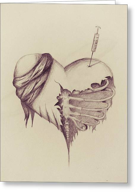 Broken Heart Drawings Greeting Cards - Recovery Greeting Card by Tess Porter