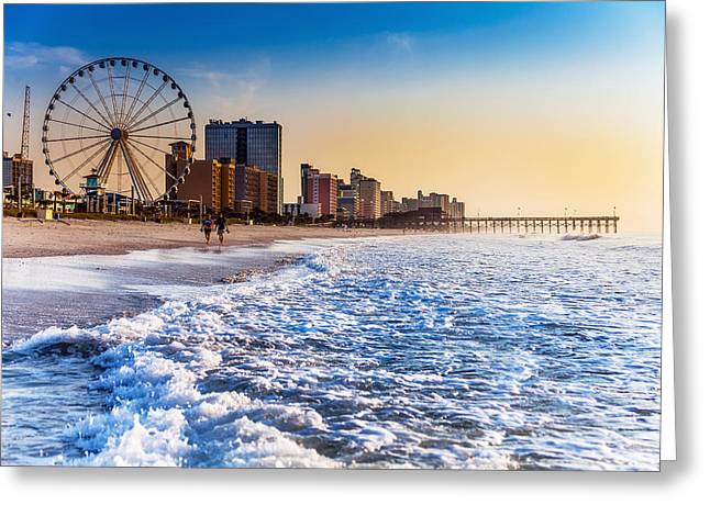 Recreation Beach Sunrise Greeting Card by Kirk Strickland