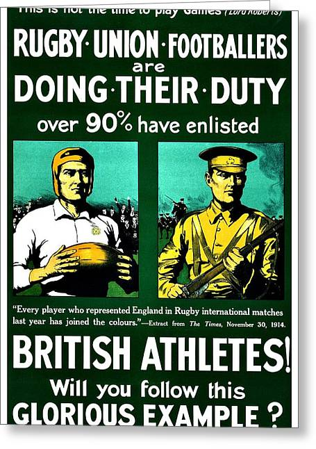 Recruit Greeting Cards - Recruiting Poster - Britain - Rugby Greeting Card by Benjamin Yeager