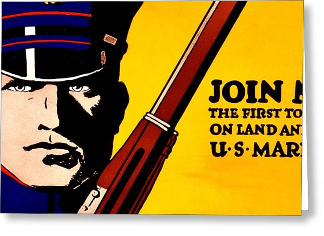Usmc Greeting Cards - Recruiting Poster - Join the Marines Greeting Card by Benjamin Yeager