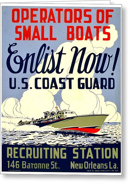 Recruit Greeting Cards - Recruiting Poster - WW2 - Coast Guard Greeting Card by Benjamin Yeager
